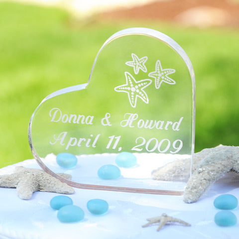 Beach Wedding Acrylic Heart Cake Topper