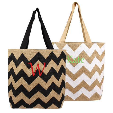 White Chevron Natural Jute Tote Bags