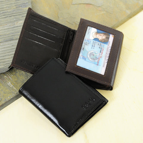 Black Oxford Tri-fold Genuine Leather Wallet