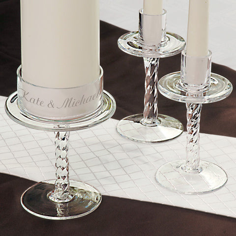Personalized Glass Pedestal Unity Candle Stand