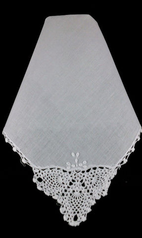 Set of (3) Corner Lace Handkerchiefs w/ 3 Initial Monogram