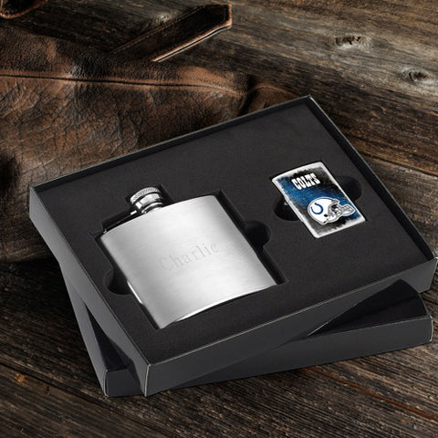 NFL Lighter and Brushed Flask Gift Set - Indianapolis Colts