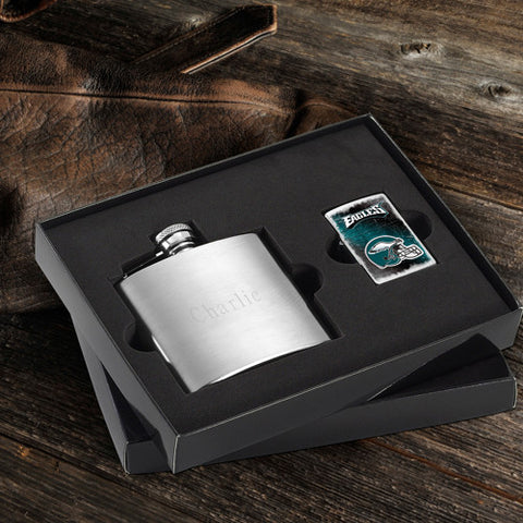 NFL Lighter and Brushed Flask Gift Set - Philadelphia Eagles