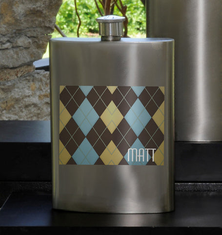 Guys Party Flask - Argyle