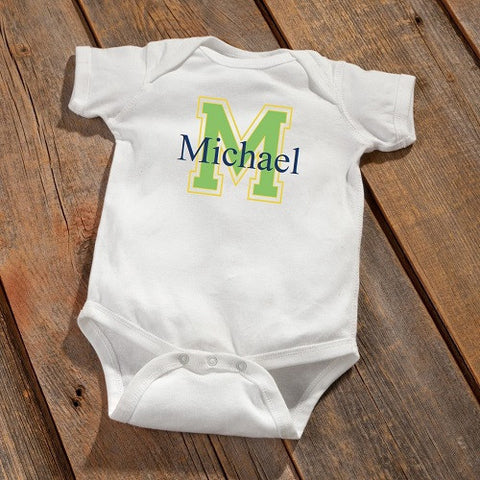 Personalized Baby Onesie - Baby Boy Initial Design