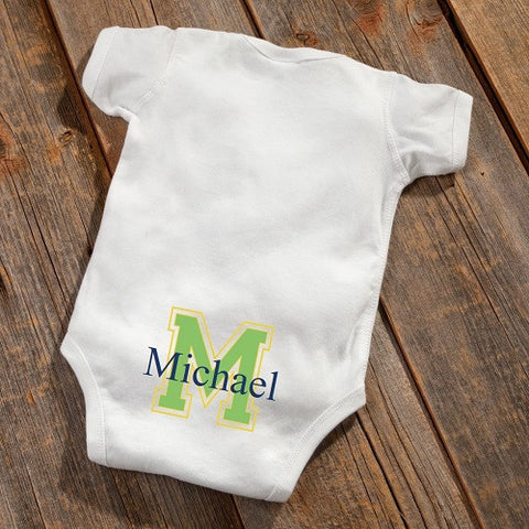 Personalized Baby Botty Onesie - Baby Boy Initial Design