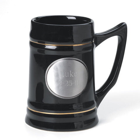 Ceramic Mug w/ Pewter Medallion