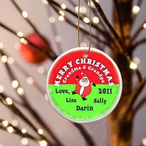 Round Ceramic Ornament - Santa Round Red
