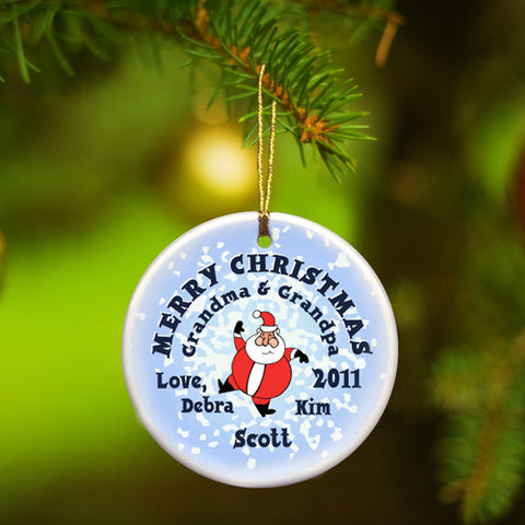 Round Ceramic Ornament - Santa Round Snow