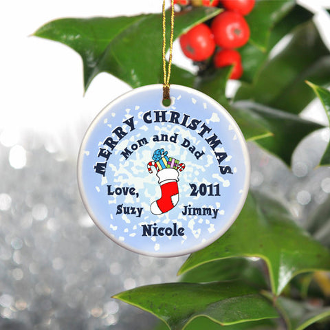 Round Ceramic Ornament - Stocking Snow