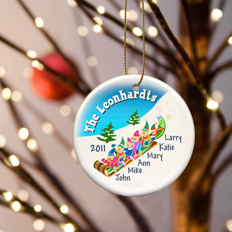 Sledding Ceramic Ornament - Family of Five