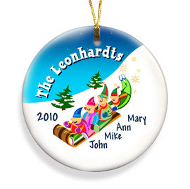 Sledding Ceramic Ornament - Family of Four