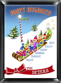 Holiday Sign - Sledding Family of 4