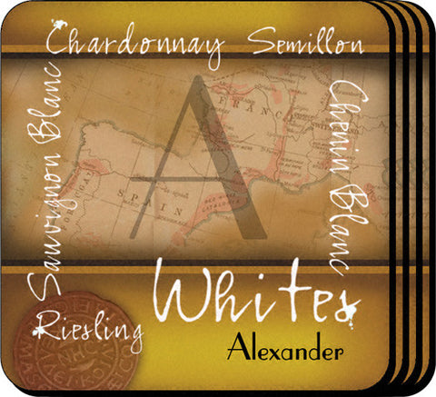 Personalized Wine Coasters - White Wine