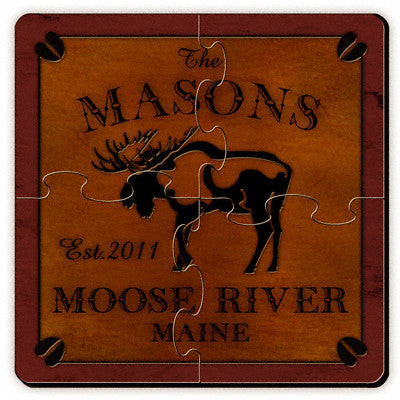 Cabin Series Coaster Puzzle - Moose