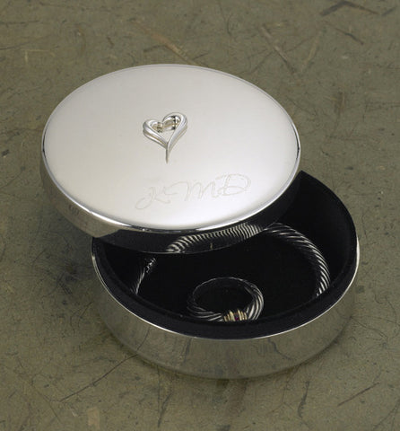 Silver Plated Jewelry Box w/Heart