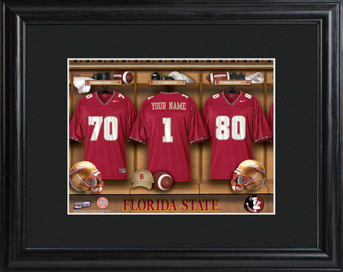 College Locker Room Print in Wood Frame - Florida State