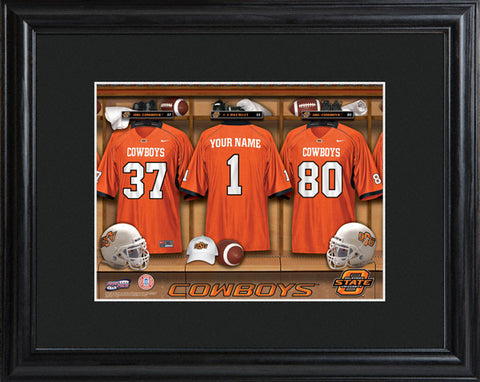 College Locker Room Print in Wood Frame - Oklahoma State