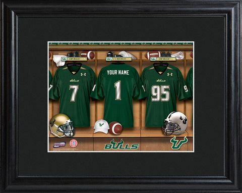 College Locker Room Print in Wood Frame - South Florida