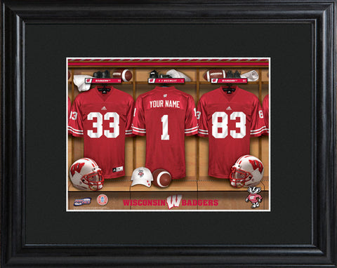 College Locker Room Print in Wood Frame - Wisconsin