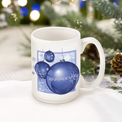 Winter Holiday Coffee Mug - Blue Ornament