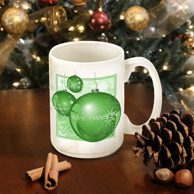 Winter Holiday Coffee Mug - Green Ornament
