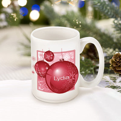 Winter Holiday Coffee Mug - Red Ornament