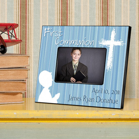 First Communion Picture Frame - Blue Prayer