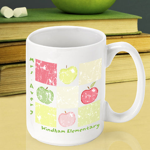 Teacher Coffee Mug - Patchwork Apples