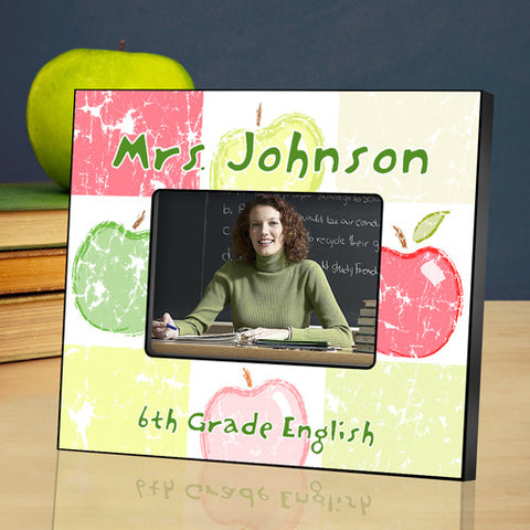 Teacher Picture Frame - Patchwork Apples