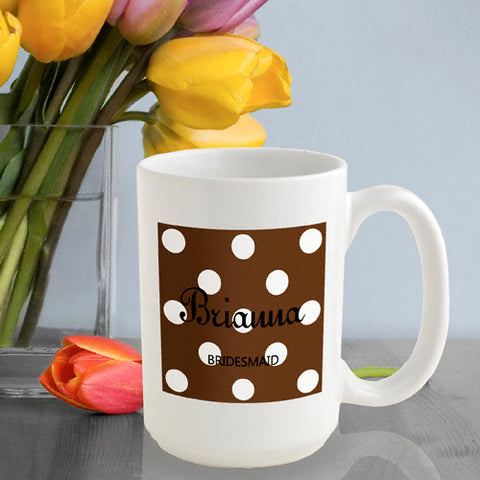Polka Dot Coffee Mug - Brown