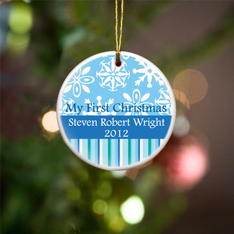 My First Christmas Ceramic Ornament - Blue