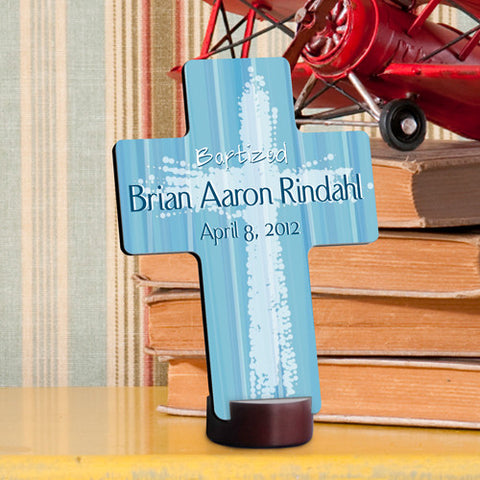 Baptismal Cross - Light Blue