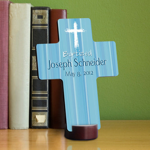 Baptismal Cross - Prayer Blue