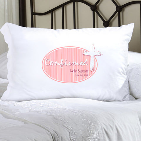 Confirmation Pillow Case - Light of God Pink