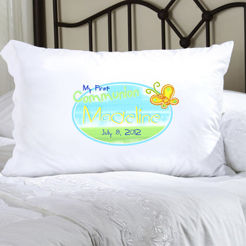 First Communion Pillow Case - Sunshine and Butterflies