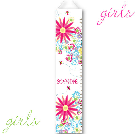 Kids Growth Charts - Personalized Buzzing Flowers