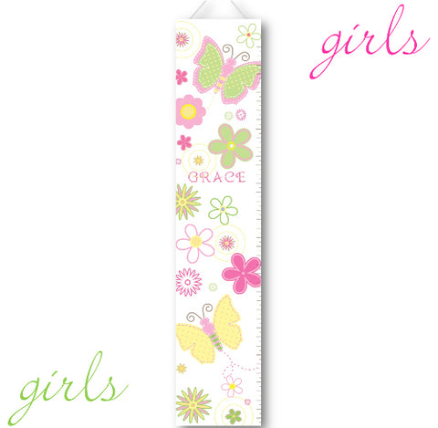 Kids Growth Charts - Personalized Pastel Butterflies