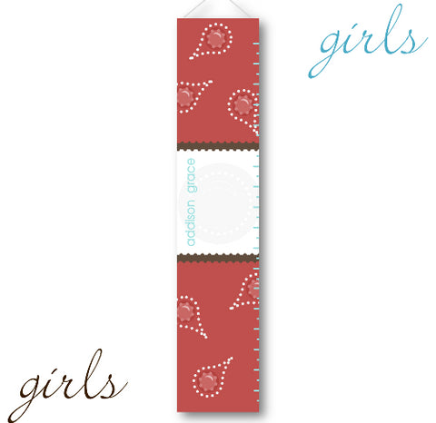 Kids Growth Charts - Red Paisley