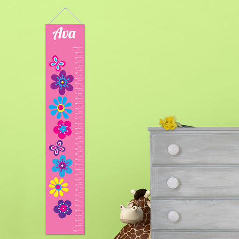 Kids Canvas Height Chart - Frilly Floral