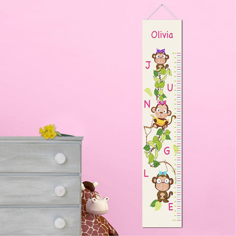 Kids Canvas Height Chart - Girly Monkey