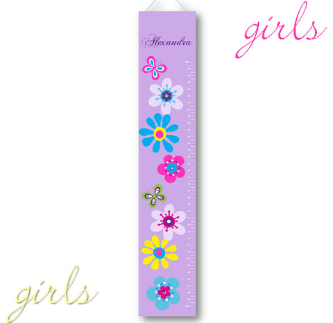 Kids Canvas Height Chart - Lilac Bloom