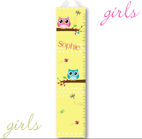 Kids Canvas Height Chart - Yellow Owls