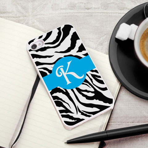 Personalized White Trimmed iPhone Cover - Zany Zebra