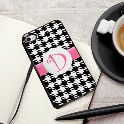 Personalized Black Trimmed iPhone cover - Houndstooth