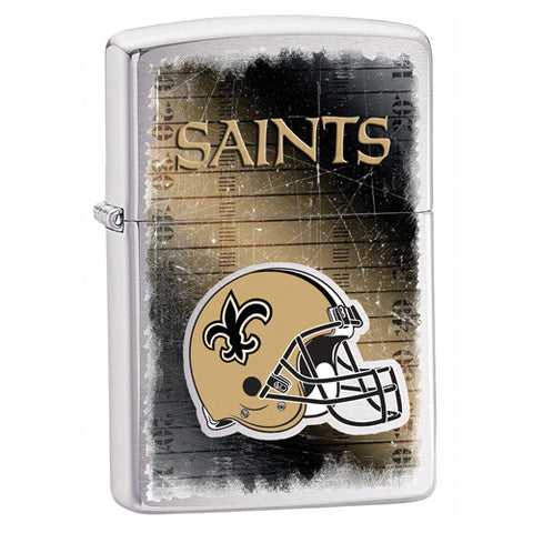 NFL Brushed Chrome Zippo Lighter - New Orleans Saints
