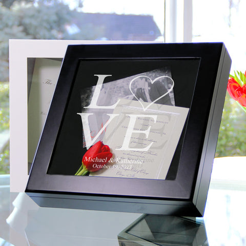 Black Two Hearts Keepsake Shadow Box