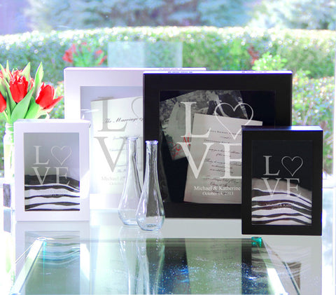 White Modern Love Wedding Shadow Box Set