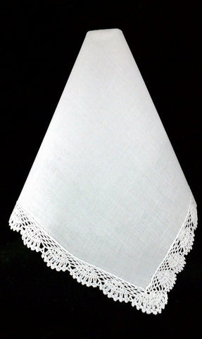 Set of (3) Crochet Lace Handkerchiefs w/ 3 Initial Monogram