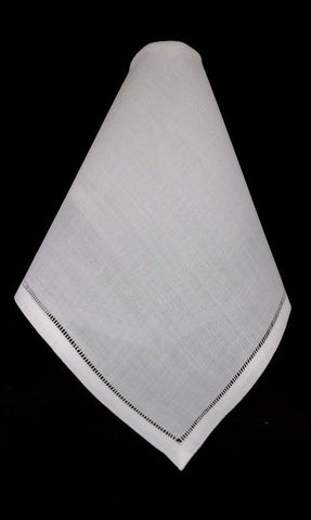 Set of (3) White Linen Handkerchiefs w/ 3 Initial Monogram